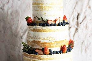 White Wedding Cake with Berries