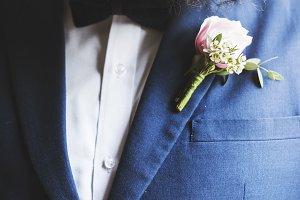 Groom in Navy Blue Tuxedo Wedding