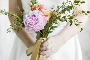 Hand Holding Fresh Real Flowers