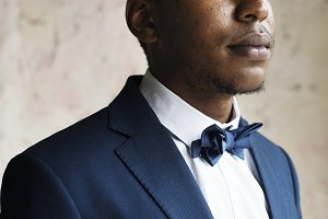 Black guy groom portrait