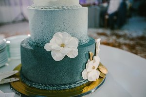 Wedding cake in turquoise color