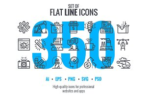 Big collection of flat line icons
