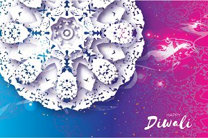 Happy Diwali. Indian celebration in paper cut style. Origami Beautiful Hindu festival of lights. White Mandala. Vector