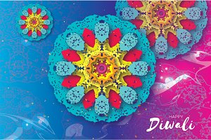 Happy Diwali. Indian celebration in paper cut style. Origami Beautiful Hindu festival of lights. Colorful Mandala. Vector