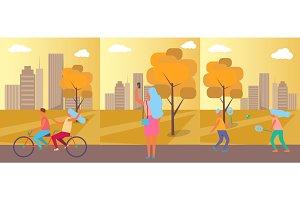 Active People Practising in Park Vector Illustration