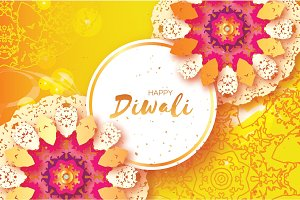 Happy Diwali. Indian celebration in paper cut style. Origami Beautiful Hindu festival of lights. Colorful Mandala. Yellow background. Vector
