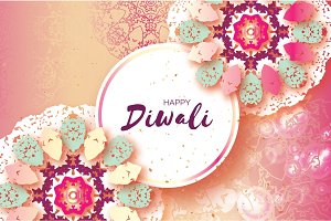 Happy Diwali. Indian celebration in paper cut style. Origami Beautiful Hindu festival of lights. Colorful Pastel Mandala. Vector