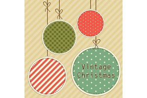Retro card as Christmas balls in shabby chic style