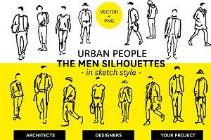 Urban men silhouettes