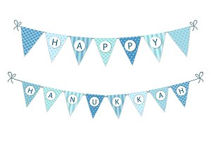 Cute festive bunting flags Happy Hanukkah in traditional colors