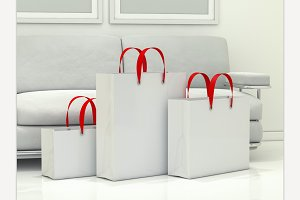 Group of paper shopping bags
