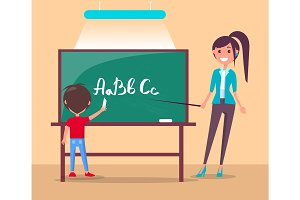 Language Class in Primary School Vector Banner.