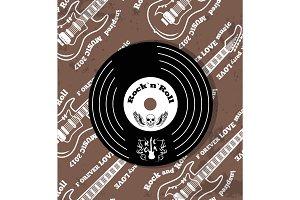 Rock'n'roll Vinyl and Skull Vector Illustration