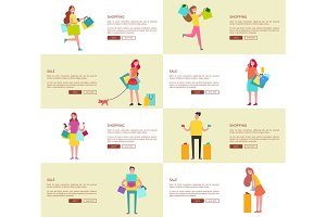Set of Eight Pictures Shopping Vector Illustration