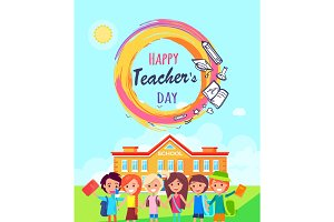 Happy Teachers Day Promo Vector Illustration.