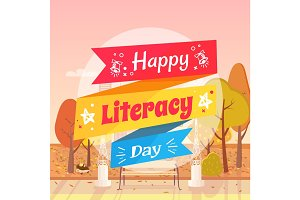 Happy Literacy Day Autumn Vector Illustration