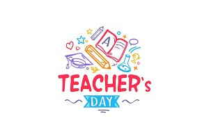 Teacher's Day Colorful Logo Vector Illustration