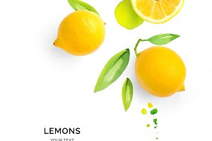 Lemons with watercolor