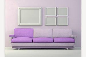 Poster mockup in livingroom