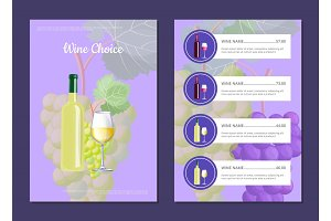 Wine Choice and Menu Card Vector Illustration