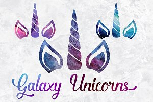 Watercolor Galaxy Unicorn Clipart