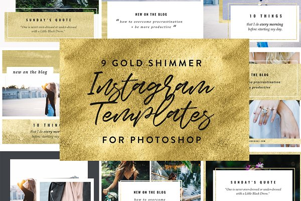 Web Elements: Sinikka Li - 9 Gold Instagram PSD Templates