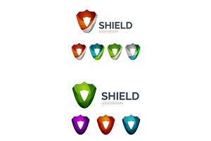 Set of geometric abstract icons - shield protection concept