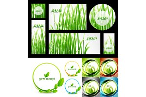 Vector mega set of green summer nature concepts