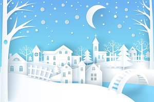 Winter Landscape Vector Illustration Blue &White