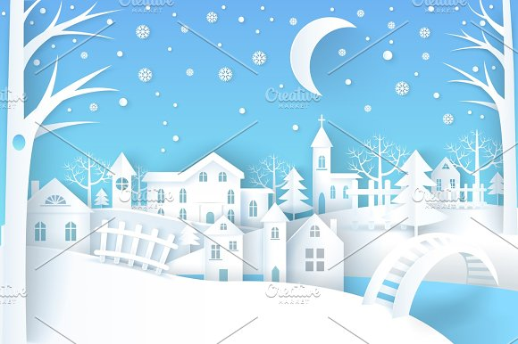 Winter Landscape Vector Illustration Blue &White