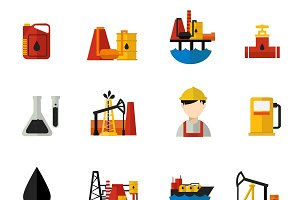 Oil Industry Icons Flat Set