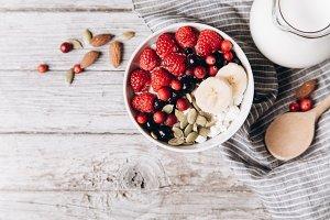 Rustic breakfast with fresh berries