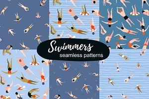TIME to SWIM! Seamless patterns