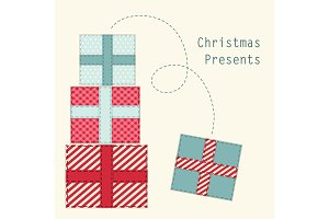 Cute retro Christmas present boxes as fabric applique
