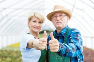 Professional gardeners showing thumbs up in a greenhouse.