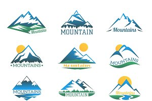 Mountains logo set