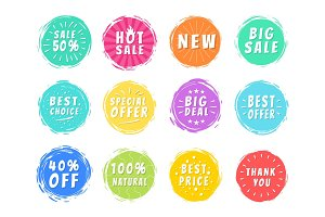Special Offers Set of Colorful Icons on White