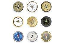 Compass. Set icons