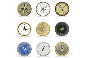 Compass. Set icons