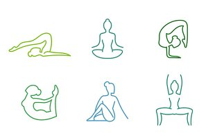 Yoga poses silhouettes set