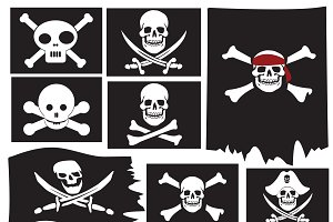 Skull and crossbones. Pirate flags