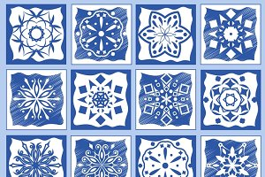 Vintage ceramic tiles illustration