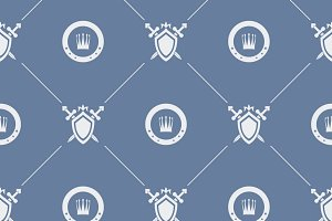 Seamless pattern sword and shield