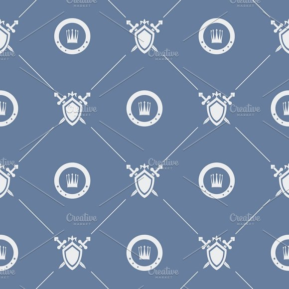 Seamless pattern sword and shield in Patterns