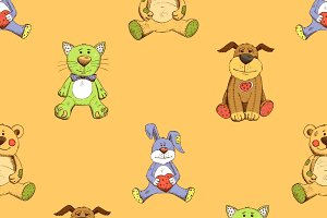 Cat, dog and rabbit background