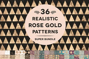 Rose Gold Foil Patterns Super Bundle