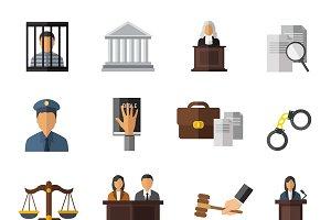 Judicial System Icon Set