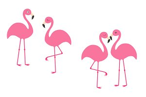 Pink flamingo set.