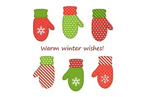 Cute fabric retro mittens as Christmas decorations in shabby chic style