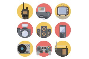 Media technology flat icons